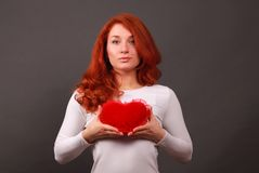 Girl with symbol of heart Stock Photos