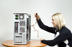 Girl with the system unit Stock Image