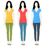 Girl t-shirt and jeans dresses Royalty Free Stock Photography