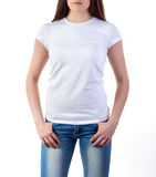 Girl in t-shirt mock-up Royalty Free Stock Image