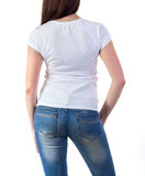 Girl in t-shirt mock-up. Girl in white t-shirt mock-up isolated on white Stock Photos