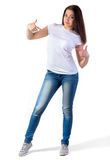 Girl in t-shirt mock-up. Girl in white t-shirt mock-up isolated on white Royalty Free Stock Photo