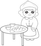 Girl beside the table coloring page. Useful as coloring book for kids Royalty Free Stock Photos