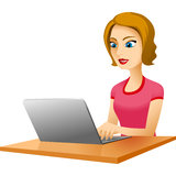Girl table laptop Stock Images