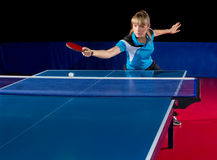 Girl table tennis player isolated Royalty Free Stock Images