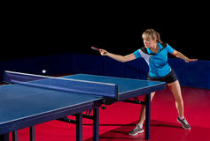 Girl table tennis player isolated Stock Images