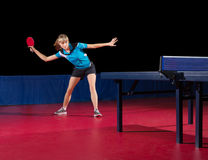 Girl table tennis player isolated Royalty Free Stock Photography