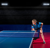 Girl table tennis player at sports hall Royalty Free Stock Photo