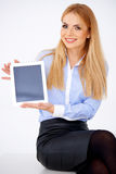 Girl and tablet Royalty Free Stock Image