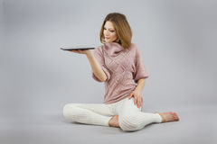 Girl with a tablet Stock Photography