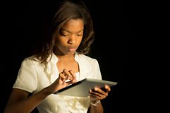 Girl with a tablet. Royalty Free Stock Images