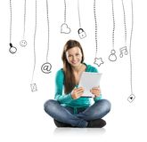 Girl with tablet Royalty Free Stock Photo