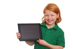 Girl with tablet computer Royalty Free Stock Images