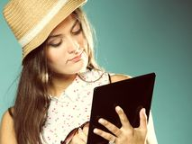 Girl with tablet computer ebook reader touchpad pc Stock Photos