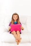Girl with tablet computer Royalty Free Stock Photo