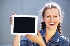 Girl with tablet computer Stock Photos
