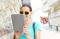 Girl and tablet computer Royalty Free Stock Images