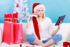 Girl with tablet credit card doing online shopping Stock Photo