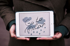 Girl with tablet. Frazee Go to Milan Stock Photos