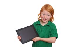 Girl with tablet pc Stock Photos