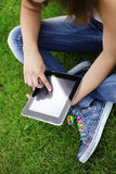 Girl with tablet PC Royalty Free Stock Images