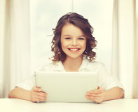 Girl with tablet pc. Picture of beautiful girl with tablet pc Royalty Free Stock Photo