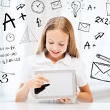 Girl with tablet pc at school Stock Images