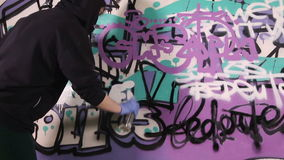 Girl tagging wall with graffiti stock video
