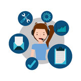 Girl tail hair support operator assistance. Vector illustration eps 10 Stock Photography