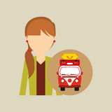 Girl tail hairstyle vintage van camper suitcases Stock Photography