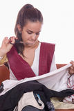 Girl tailor with scissors Stock Photos