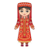 The girl in Tajik dress.  Historical clothes. Royalty Free Stock Photo