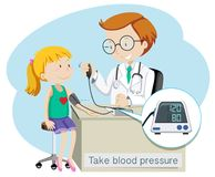 A Girl Take Blood Pressure with Doctor. Illustration Stock Photos