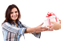 Girl take a gift Stock Images