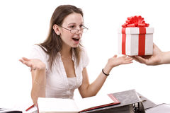 Girl take a gift Royalty Free Stock Images