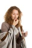 Girl take medication Royalty Free Stock Images