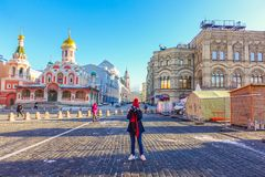006 - Girl take photo Inside St. Basil`s Cathedral stock images