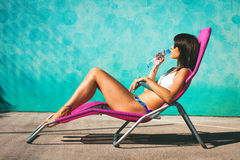 Girl take sunbath Stock Photography