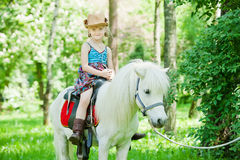 Girl take a walk with pony Royalty Free Stock Photography