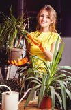 Girl Takes Care of Plants Royalty Free Stock Photography