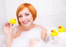 Girl taking a bath Royalty Free Stock Photo