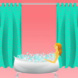 Girl taking a bath. With bubbles Royalty Free Stock Photos