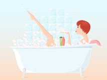 Girl taking bath. Pretty young girl taking bubble bath and playing with bubbles. File compatible with Adobe illustrator 8. All key objects are grouped and well Royalty Free Stock Photo