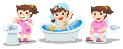 A girl taking a bath, brushing teeth, sitting on toilet. royalty free illustration