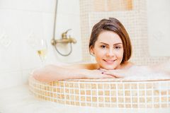 Girl taking a bath Royalty Free Stock Images