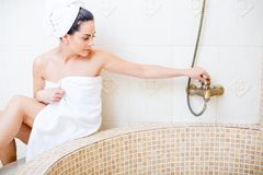 Girl taking a bath Royalty Free Stock Photography