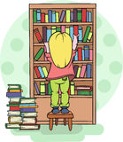 Girl taking a book from a shelf in the library  school education - Vector illustration Stock Images