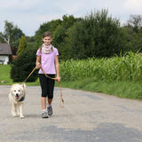 Girl taking a Golden Retriever dog for a walk. Little girl taking a Golden Retriever dog for a walk on a leash in nature Stock Photos