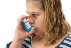 Girl Taking Inhaler Royalty Free Stock Photos