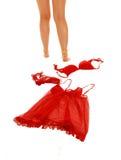 Girl taking of lingerie. Stock Photo